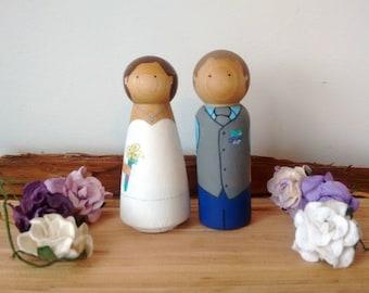 Custom Cake Topper, Wood Cake Toppers, Peg Doll Cake Topper, Wedding Cake Topper, Wedding Cake Toppers, Peg Dolls, Wedding Decor