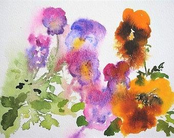 Pansies and Violas/Spring Flowers Watercolour