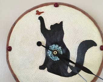Cat and butterfly Wall Clock