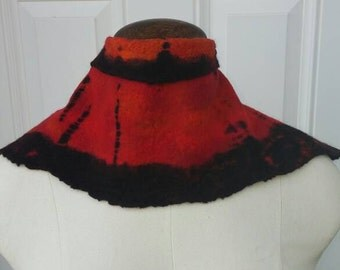 Beautiful Red Wet Felted Neck Warmer with Shibori Overdye in Black-Small