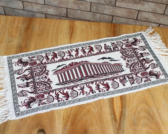 Vintage greek machine embroidery with ancient greece theme.Parthenon Athens Greece Tapestry.Athens Wall Art.Greece Photo Tapestry.Travel Art