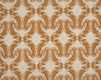 Linen Fabric By the yard Feathers Bronze on Flax