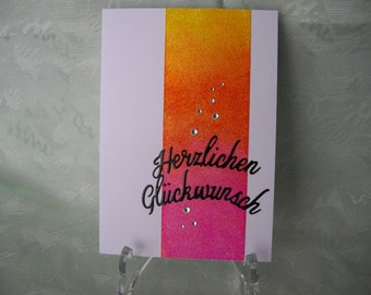 Greeting card, greeting card, birthday card, glitter and bling bling