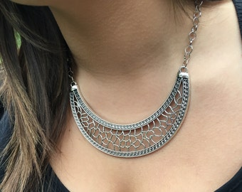 Necklace silver breastplate.
