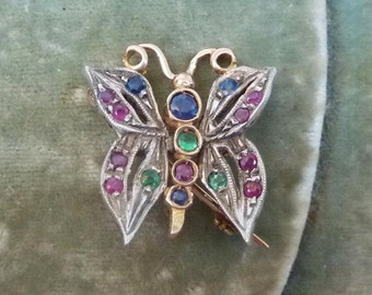 Gorgeous 9ct gold & silver Victorian Emerald Sapphire and ruby butterfly vintage antique brooch