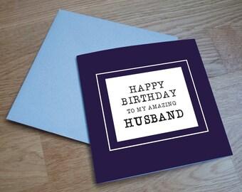 Eco Friendly Birthday Card - 'Amazing Husband'