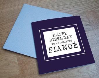 Eco Friendly Birthday Card - 'Amazing Fiancé'