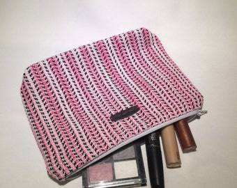 Pink White and Black Handwoven Costmetic Bag