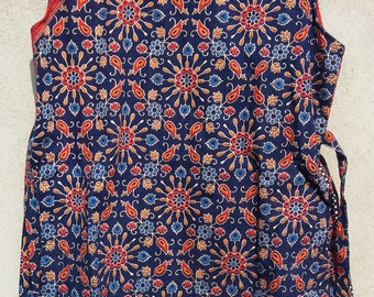 Indigo Hand Block Printed Ethnic Indian Kurti / Tunics , Block Printed Kurti , Indian Kurti