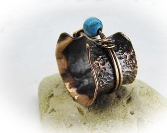 Handmade Spinner ring - Copper ring - Gemstone ring - Dea Spinner Ring - Meditation Ring - Anti Stress Ring - Medieval  Ring 49