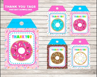 Donut Thank you tags instant download, Donut Tags, Donut Party Thank you tags