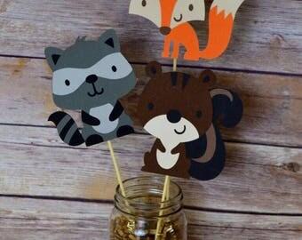Woodland Friends Centerpiece Fox-Squirrel-Raccoon- Forest Friends- Woodland animals- Birthday Party- Decorations- Party- fox baby shower