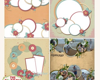 Simply Circles Digital Scrapbooking Templates, Quick Pages or Sketches