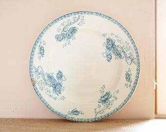 Good size French antique ironstone round platter transferware white cream blue by Sarreguemines U&C decor Royat