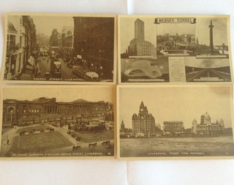 Liverpool, England 1930's Postcards - Excel Series - 4 Postcards