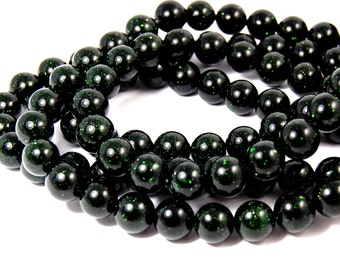 "Two 14.5"" strands Green Goldstone Beads 12mm"