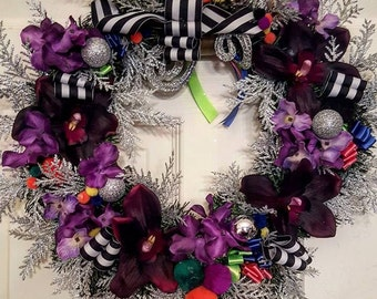 Hmong Inspired Purple Christmas Wreath, Culture, Beauty, Non Traditional Wreaths, Holiday Wreaths, All Occasions Wreaths