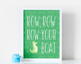 Row, Row, Row Your Boat - Nursery Rhyme Print - New Baby Gift - Nursery Decor - Children's Wall Art - Available in 5 colours and 5 sizes.