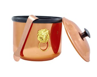 Vintage Ice Bucket, Copper Ice Bucket, Brass, Mid Century Modern, Vintage Barware, Bar Cart Accessory, Mad Men, Barware,Mid Century Barware