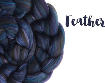 Blended Roving - custom top - 100g - 3.5oz - 23 micron Merino and bamboo - blue, green, purple - FEATHER