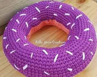 Tshirt yarn crocheted donut cushion