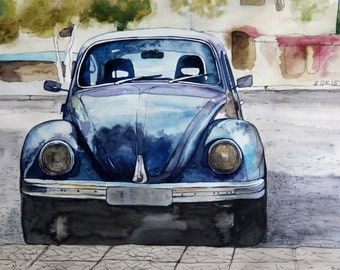 "Printable wall art  Watercolor poster ""Beetle"" Home decor"