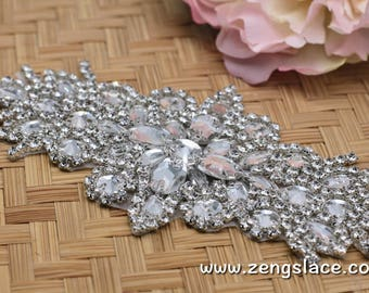 Rhinestone Sash/Wedding Sash/Bridal Sash/Wedding Dress Belt/Wedding Belt/Rhinestone Belt/Crystal Sash/Rhinestone Applique/Bridal Belt, RA-02
