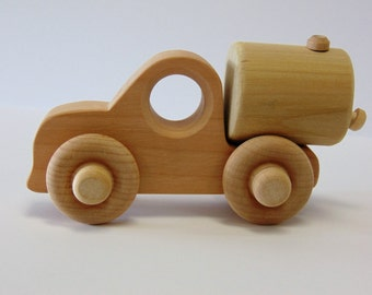 Natural Wood Toy Tanker Truck