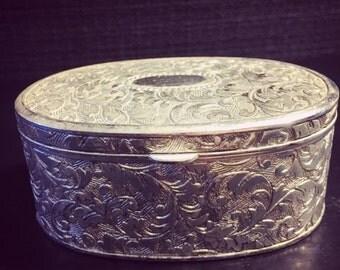 ON SALE Vintage Art Deco Silver Ornate Plated Trinket Box, Silver Jewelry Box, Ornate Box, Silver Trinket Box, Art Nouveau Jewelry Chest