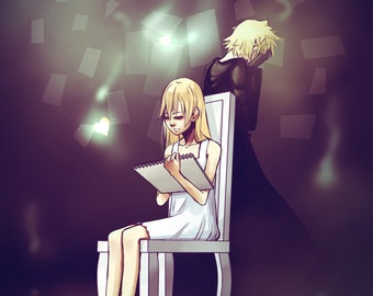 Nobody - A4 - Kingdom Hearts Naminé and Roxas - Digital painting - Giclée