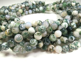 "Natural Moss Agate Beads 8mm 10mm Grass Green Polished Round 15"" Full Strand Wholesale Gemstones"