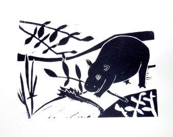 Obi (original hand-pulled linocut print)