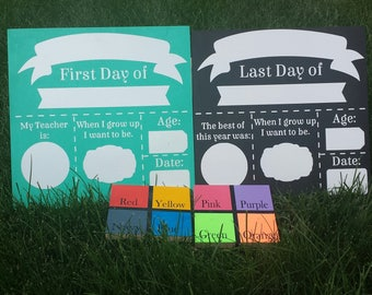 First Day - Last Day Of School Reversible Dry Erase Wood Board - First Day Of School - Reusable Back To School Sign - Back To School Wood