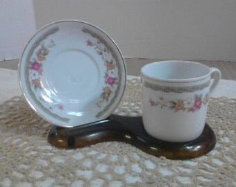 Flowered Teacup and Saucer-China