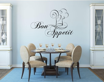 Bon Appetit with Chef Hat to the Right Kitchen Vinyl Wall Quote