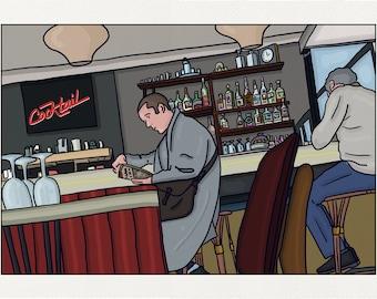 At the bar - Illustration Paris - print on fine art paper