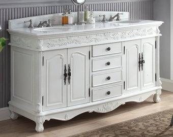 64 inch double sink bathroom vanity. Bathroom Vanity  Florence 62 inch Double Sink HF036XLW AW BS sink vanity Etsy