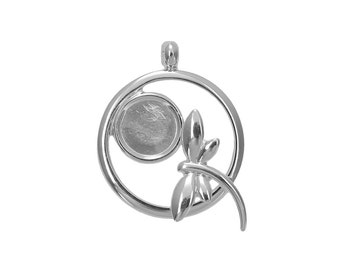 Silver Plated Dragonfly Pendant with 10mm Cup