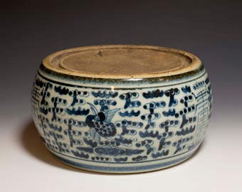 Beautiful Chinese Antique 18th Century Qing Dynasty KangXi Emperor Period Blue and White Porcelain Ink Stone