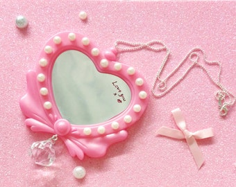 Aliencandy.girl Hand-Painted Mirror Heart Necklace