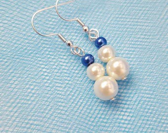 Wedding Pearl Earrings Blue Wedding Jewelry White Wedding Jewelry Bue Pearl Earrings White Pearl Earrings Bridesmaid Gifts Something Blue