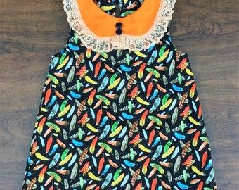 Girls Boho Dress, Sz 3,Feather Print Dress, Girls Dress, Toddler Girls Dress, Girls Summer Dress, Trendy Kids Clothes, Girls Clothes