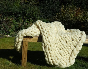 100% Merino Wool blanket/Plaid thick wool undyed, natural wool Chunky knit chunky knit