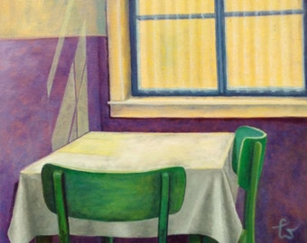 Yellow window, loneliness, still life, table with 2 chairs, Eßgruppe