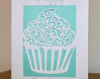 Cupcake paper cut card