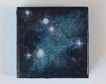 Birch Wood Panel Acrylic Space Painting Stardust #9
