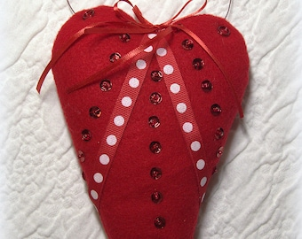 Red Dotted Felt Vintage Heart, Mothers Day Gift, Love Gift, Heart Decor