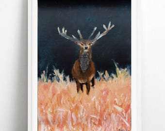 Deer Print | Stag Painting | Wildlife Art | Office Decor | Nursery Art | Home Decor | Coral Painting | Navy Painting
