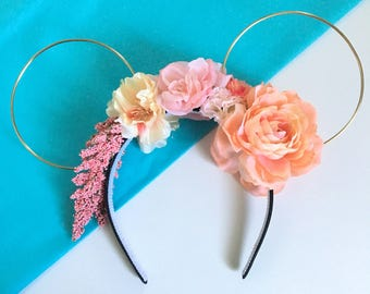 Peach Lightweight Reversible Asymmetrical Floral Mouse Gold Wire Ears
