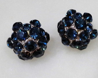 Dark blue Swarovski crystal earrings / Short starts earrings